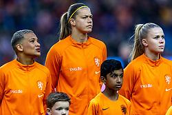 05-04-2019 NED: Netherlands - Mexico, Arnhem<br /> Friendly match in GelreDome Arnhem. Netherlands win 2-0 / Shanice van de Sanden #7 of The Netherlands, Anouk Dekker #6 of The Netherlands, Kika van Es #5 of The Netherlands
