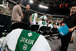 Jersey of Dino Muric of Olimpija during basketball match between KK Union Olimpija and KK Krka Novo mesto in 10th Round or Slovenian Champions League 2011/12, on April 28, 2012 in Arena Stozice, Ljubljana, Slovenia. (Photo by Vid Ponikvar / Sportida.com)