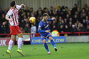 Callum Kennedy of AFC Wimbledon clears the danger during the Sky Bet League 2 match between AFC Wimbledon and Stevenage at the Cherry Red Records Stadium, Kingston, England on 12 December 2015. Photo by Stuart Butcher.