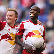 HARRISON, NEW JERSEY- OCTOBER 16:  Bradley Wright-Phillips, (right), #99 of New York Red Bullscelebrates his second goal with Dax McCarty #11 of New York Red Bulls during the New York Red Bulls Vs Columbus Crew SC MLS regular season match at Red Bull Arena, on October 16, 2016 in Harrison, New Jersey. (Photo by Tim Clayton/Corbis via Getty Images)