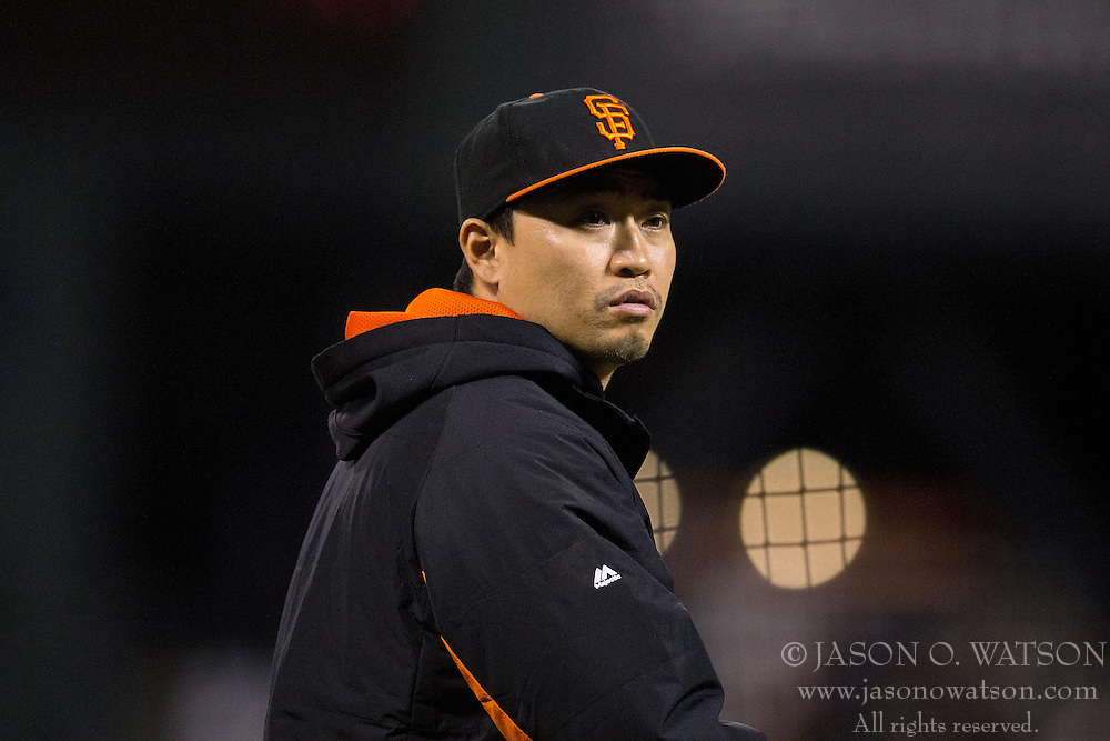 SAN FRANCISCO, CA - JULY 11:  Nori Aoki #23 of the San Francisco Giants walks across the field after the game against the Philadelphia Phillies at AT&T Park on July 11, 2015 in San Francisco, California.  The San Francisco Giants defeated the Philadelphia Phillies 8-5. (Photo by Jason O. Watson/Getty Images) *** Local Caption *** Nori Aoki