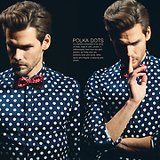 Photoshoot with Tomek - editorial fashion photos of a polkadot shirt and a polkadot bowtie.