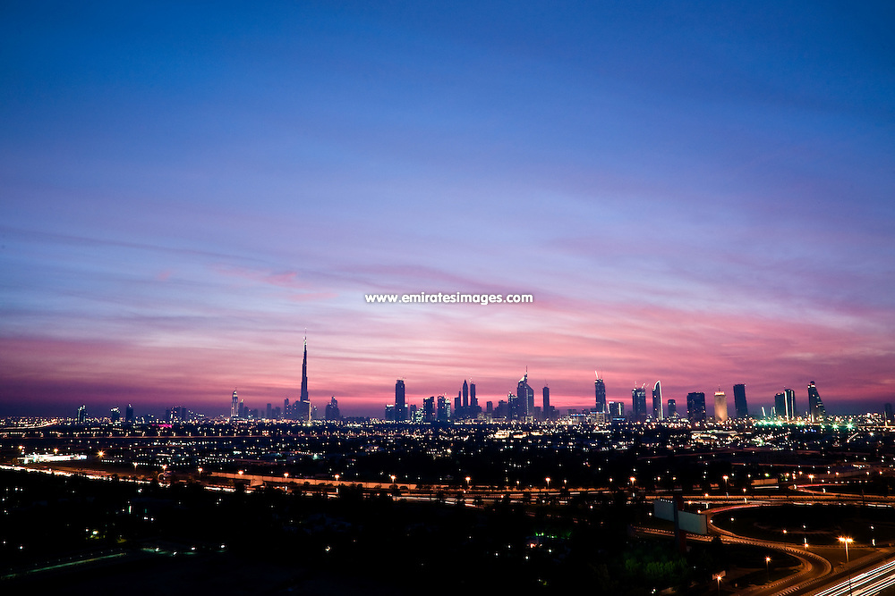 Dubai skyline at sunset, Sheikh Zayed Road, including Burj Khalifa, Emirates Towers, World Trade Centre