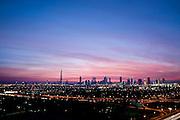 Dubai skyline at sunset, Sheikh Zayed Road, including Burj Khalifa, Emirates Towers, World Trade Centre