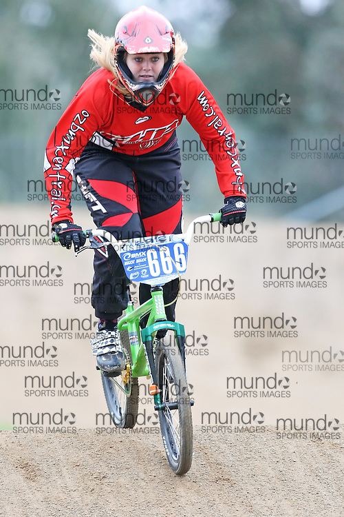 (Canberra, Australia---03 March 2012) Amanda Williams of the ACT competing in stage 5 of the BMX Australia Champbikx 16 Girls series at the Melba BMX Track in Canberra, Australia. Photograph 2012 Copyright Sean Burges / Mundo Sport Images. For reproduction rights and information in Australia, contact seanburges@yahoo.com. For information elsewhere contact info@mundosportimages.com.