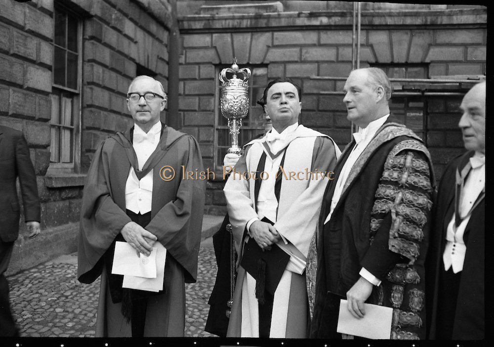 A.J. McConnell, provost of Trinity College, Dublin, Micheal MacLiammóir and the Earl of Rosse, Vice-Chancellor, following conferring ceremony..06.12.1962