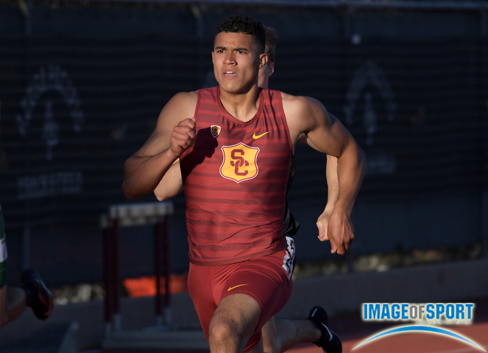 Ayden Owens of Southern California runs 47.66 for the top time in the decathlon 400m during the Bryan Clay Invitational in Azusa, Calif., Wednesday, April 17, 2019.