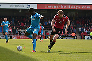 Morecambe Defender, Steven Old (5) and Barnet Forward, John Akinde (9) during the EFL Sky Bet League 2 match between Morecambe and Barnet at the Globe Arena, Morecambe, England on 28 April 2018. Picture by Mark Pollitt.