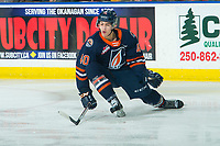 KELOWNA, BC - DECEMBER 27:  Daylan Kuefler #40 of the Kamloops Blazers tries to block a pass by the Kelowna Rockets at Prospera Place on December 27, 2019 in Kelowna, Canada. (Photo by Marissa Baecker/Shoot the Breeze)