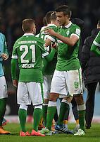 FUSSBALL   1. BUNDESLIGA   SAISON 2014/2015   11. SPIELTAG SV Werder Bremen - VfB Stuttgart                        08.11.2014 Levent Aycicek und Franco Di Santo (v.l., beide SV Werder Bremen) freuen sich nach dem Abpfiff