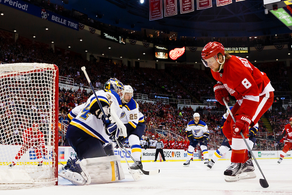 Mar 22, 2015; Detroit, MI, USA; Detroit Red Wings left wing Justin Abdelkader (8) goes toward the goal of St. Louis Blues goalie Jake Allen (34) in the second period at Joe Louis Arena. Mandatory Credit: Rick Osentoski-USA TODAY Sports
