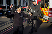 The morning after the terrorist attack at Fishmongers Hall on London Bridge, in which Usman Khan (a convicted, freed terrorist) killed 2 during a knife a attack, then subsequently tackled by passers-by and shot by armed police - Met Police Commissioner Cressida Dick greets a local lady before touring Borough Market, on 30th November 2019, in London, England.