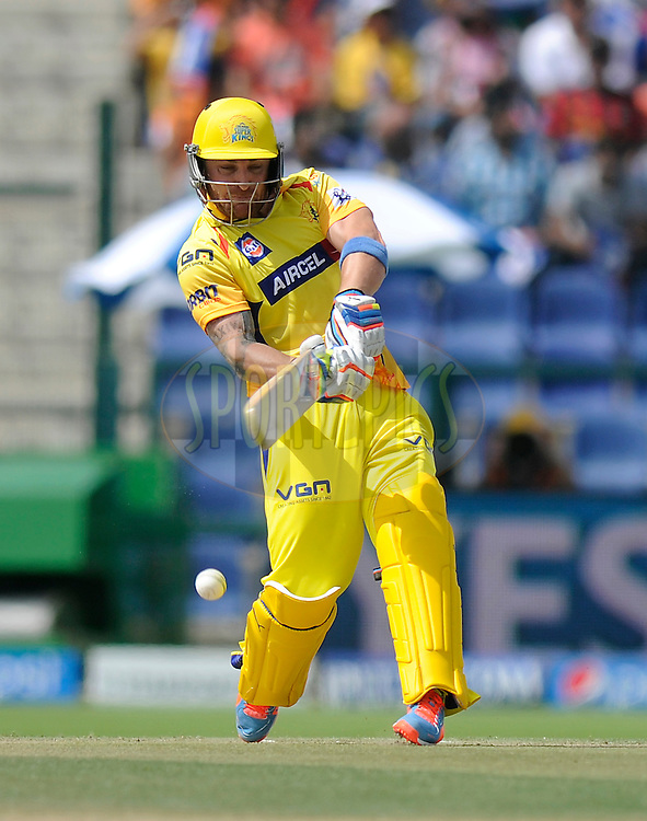 Brendon McCullum of The Chennai Superkings bats during match 3 of the Pepsi Indian Premier League Season 7 between the Chennai Superkings and the Kings X1 Punjab held at the Al Zayed Cricket Stadium, Abu Dhabi, United Arab Emirates on the 18th April 2014<br /> <br /> Photo by Pal Pillai / IPL / SPORTZPICS