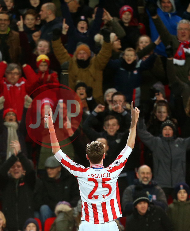 Peter Crouch of Stoke City celebrates after scoring his sides first goal with the fans - Mandatory by-line: Matt McNulty/JMP - 01/02/2017 - FOOTBALL - Bet365 Stadium - Stoke-on-Trent, England - Stoke City v Everton - Premier League