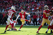 San Francisco 49ers kicker Robbie Gould (9) kicks a field goal against the Arizona Cardinals at Levi's Stadium in Santa Clara, Calif., on November 5, 2017. (Stan Olszewski/Special to S.F. Examiner)