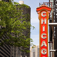 Chicago Theater Sign and Marina City Towers. The Chicago Theater is a popular venue for concerts and stage performances and is a Chicago landmark.
