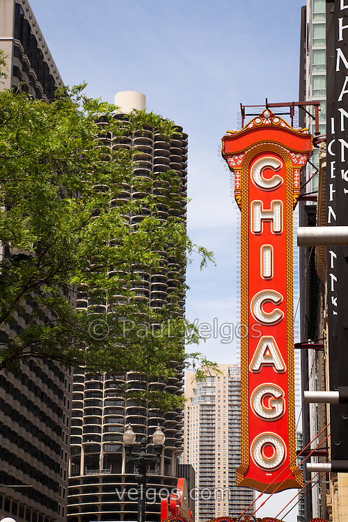 Chicago Theater Sign And Marina City Towers Buy Canvas