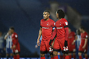 Leyton Orient striker Jay Simpson (27) and Leyton Orient midfielder Sandro Semedo (22) during the EFL Trophy Southern Group G match between U23 Brighton and Hove Albion and Leyton Orient at the American Express Community Stadium, Brighton and Hove, England on 8 November 2016.