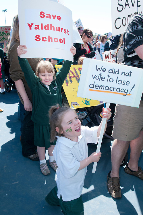 Julia Manton, left, and Sophie Hogland,  both 5 years, of Yaldhurst Model School, at the rally for protesters against Government proposals to close and merge some schools in Christchurch, held in Hagley Park South, Christchurch, New Zealand,  Saturday 22 September, 2012. Credit: SNPA /  David Alexander.