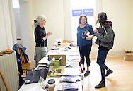 From left, Jenny Isaacs of Doylestown, Pensylvania, Ann Zavoda, of Ottsville, Pennsylvania, and Bucks County Campaign manager Lena Glickman of Philadelphia, Pennsylvania converse in the the new Bernie Sanders democratic campaign headquarters Saturday April 2, 2016 in Doylestown, Pennsylvania.  (Photo by William Thomas Cain)