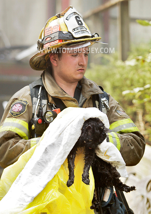 A Monroe firefighter carries a cat from a structure fire on Fitzgerald Court in Monroe on Monday, Aug 1, 2011. A dog was also rescued from the fire.