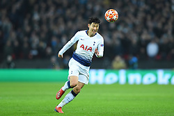February 13, 2019 - London, England, United Kingdom - Tottenham forward Heung-Min Son makes a break during the UEFA Champions League match between Tottenham Hotspur and Ballspielverein Borussia 09 e.V. Dortmund at Wembley Stadium, London on Wednesday 13th February 2019. (Credit: Jon Bromley | MI News & Sport Ltd) (Credit Image: © Mi News/NurPhoto via ZUMA Press)