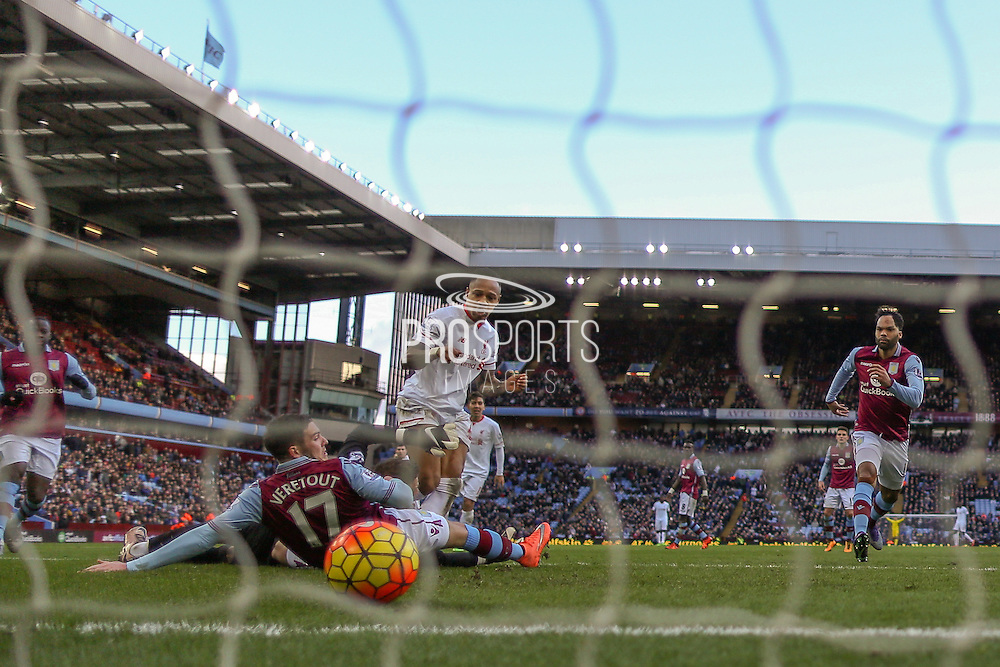 Liverpool defender Nathaniel Clyne  scores for Liverpool  during the Barclays Premier League match between Aston Villa and Liverpool at Villa Park, Birmingham, England on 14 February 2016. Photo by Simon Davies.