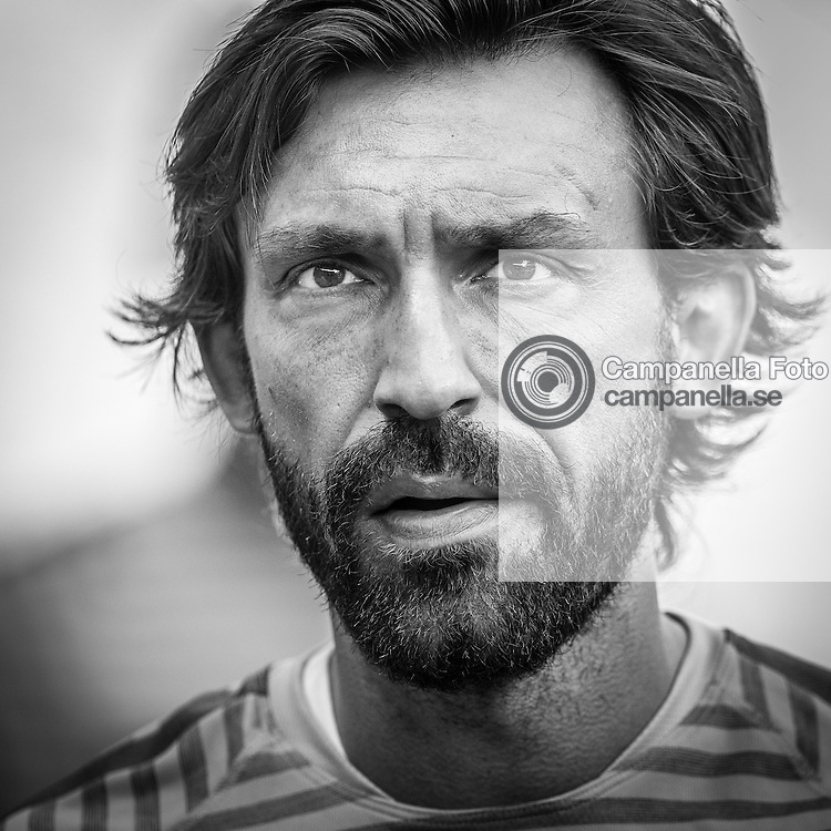 BERLIN, GERMANY - 5 June 2015 :<br /> <br /> Juventus 21 Andrea Pirlo participates in a training session ahead of the UEFA Champions League Final between Juventus FC and FC Barcelona at Olimpiastadion in Berlin on 5 June (Photo: Michael Campanella)