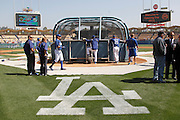 LOS ANGELES, CA - APRIL 10:  Los Angeles Dodgers players take batting practice at the game against the Pittsburgh Pirates on Tuesday, April 10, 2012 at Dodger Stadium in Los Angeles, California. The Dodgers won the game 2-1. (Photo by Paul Spinelli/MLB Photos via Getty Images)