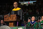 "Honorary degree recipient Venkatraman ""Venki"" Ramakrishnan speaks at gradute commencement. Photo by Ben Siegel"
