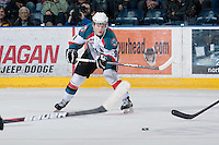 KELOWNA, CANADA - JANUARY 26: Zach Franko #9 of the Kelowna Rockets skates on the ice with the puck against the Prince Albert Raiders at the Kelowna Rockets on January 26, 2013 at Prospera Place in Kelowna, British Columbia, Canada (Photo by Marissa Baecker/Shoot the Breeze) *** Local Caption ***