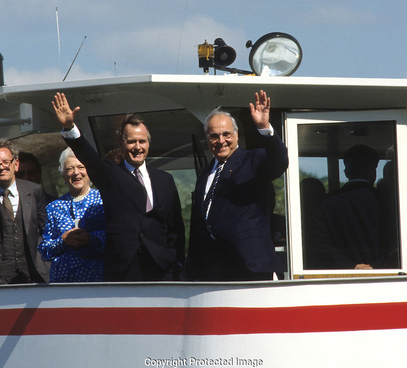 President H W Bush (Bush 41) and German Chancellor Helmut Kohl cruise down the Rhine during  a summit in 1989...Photograph by Dennis Brack, BB 29