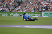 England Liam Plunkett catches New Zealand Kane Williamson during the Royal London One Day International match between England and New Zealand at the Oval, London, United Kingdom on 12 June 2015. Photo by Phil Duncan.
