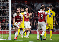 Football - 2018 / 2019 UEFA Europa League - Round of Thirty-Two, Second Leg: Arsenal (0) vs. BATE Borisov (1)<br /> <br /> Shkodran Mustafi (Arsenal FC) collects the ball after he puts his team 2-0 ahead at The Emirates.<br /> <br /> COLORSPORT/DANIEL BEARHAM