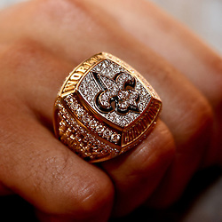 June 16, 2010; New Orleans, LA, USA;  A close up of a Super Bowl championship ring worn by wide receiver Lance Moore, the team received their rings during a ring ceremony at the Roosevelt Hotel.   Mandatory Credit: Derick E. Hingle