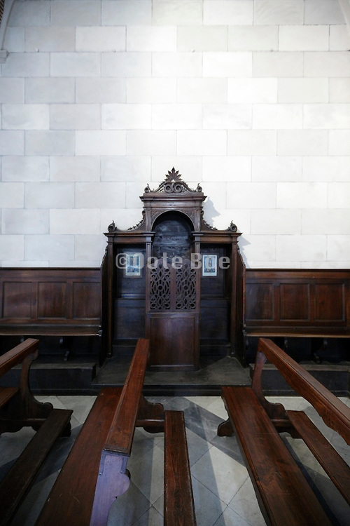 confessional with church benches