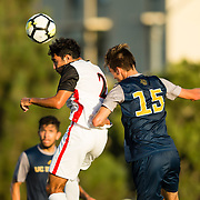 09 September 2018: San Diego State Aztecs midfielder Spender Madden (2) heads the ball past UC Irvine defender Michael Orosco (15) in the second half. The San Diego State men's soccer team beat UC Irvine in overtime 2-1 Sunday afternoon at the SDSU Sports Deck.
