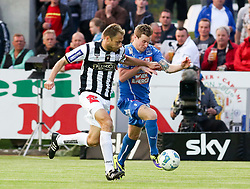 29.05.2015, Sportplatz FAC, Wien, AUT, 2. FBL, Floridsdorfer AC vs Lask Linz, 36. Runde, im Bild Mario Hieblinger (Lask Linz) und Michael Pittnauer (Floridsorfer AC)<br /> // during Austrian Football Second Bundesliga Match, 36th round, between Floridsdorfer AC and Lask Linz at the Sportplatz FAC, Vienna, Austria on 2015/05/29. EXPA Pictures © 2015, PhotoCredit: EXPA/ Alexander Forst