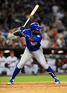 Apr. 29 2011; Phoenix, AZ, USA; Chicago Cubs batter Alfonso Soriano(12) stands at bat against the Arizona Diamondbacks at Chase Field. The Cubs defeated the Diamondbacks 4-2. Mandatory Credit: Jennifer Stewart-US PRESSWIRE..