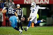 NASHVILLE, TN - DECEMBER 30:  Rigoberto Sanchez #2 of the Indianapolis Colts punts the ball during a game against the Tennessee Titans at Nissan Stadium on December 30, 2018 in Nashville, Tennessee.  The Colts defeated the Titans 33-17.   (Photo by Wesley Hitt/Getty Images) *** Local Caption *** Rigoberto Sanchez