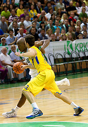 Curtis Stinson of Krka vs Yogev Ohayon of Maccabi during basketball match between KK Krka and Maccabi Electra Tel-Aviv in 1st Round of ABA League, on October 1, 2011, in Arena Leon Stukelj, Slovenia.  (Photo by Vid Ponikvar / Sportida)
