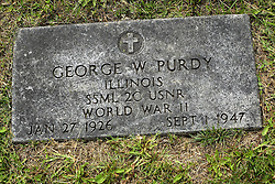 31 August 2017:   Veterans graves in Park Hill Cemetery in eastern McLean County.<br /> <br /> George W Purdy Illinois SSML 2C USNR  World War II  Jan 27 1926  Sept 1 1947