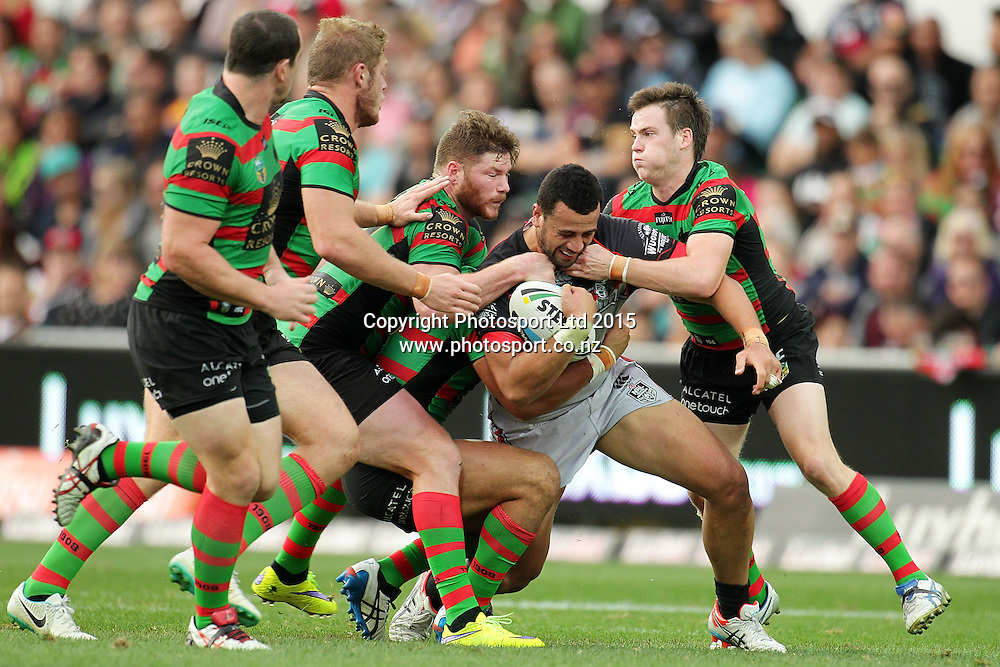 PERTH, AUSTRALIA - JUNE 06:  Ben Matulino of the Warriors is tackled during the 2015 NRL Round 13 Rugby League match between the Vodafone Warriors and The Rabbitohs at NIB Stadium, Perth, Australia on June 6, 2015. (Copyright photo Will Russell/www.Photosport.co.nz)