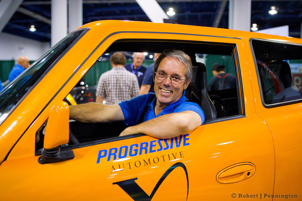 Rick Woodbury of Commuter Car an automotive X Prize finalist sitting in the Tango. SEMA 2009 in Las Vegas, Nevada.