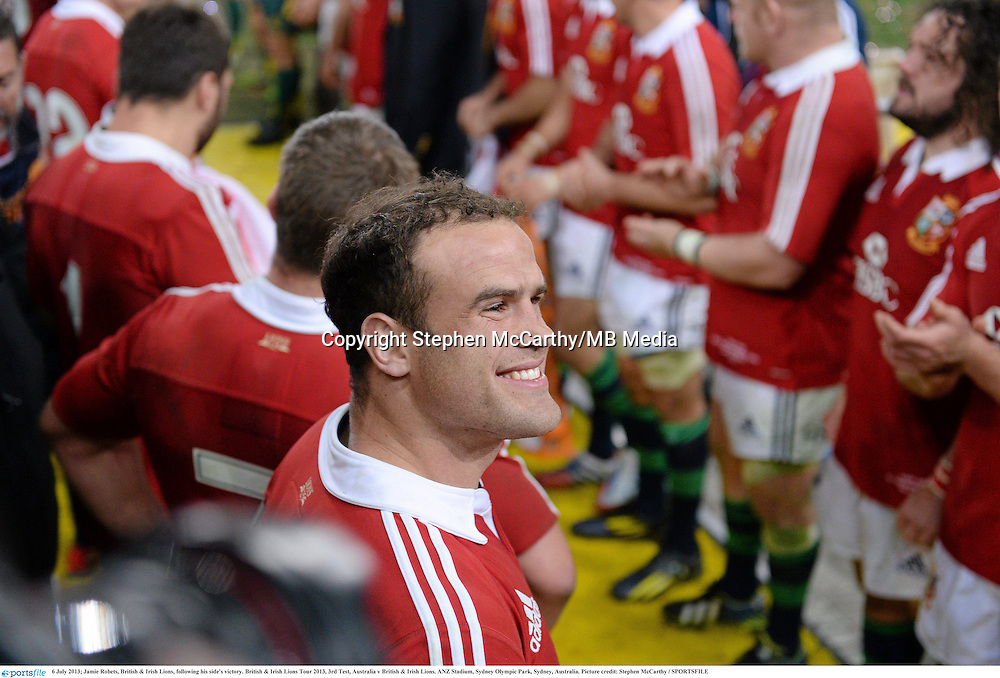 6 July 2013; Jamie Robets, British & Irish Lions, following his side's victory. British & Irish Lions Tour 2013, 3rd Test, Australia v British & Irish Lions. ANZ Stadium, Sydney Olympic Park, Sydney, Australia. Picture credit: Stephen McCarthy / SPORTSFILE