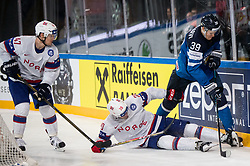Alexander Bonsaksen of Norway, Anders Bastiansen of Norway vs Jesse Puljujarvi of Finland during the 2017 IIHF Men's World Championship group B Ice hockey match between National Teams of Norway and Finland, on May 13, 2017 in AccorHotels Arena in Paris, France. Photo by Vid Ponikvar / Sportida