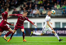 Žan Rogelj of Triglav vs Jan Mlakar of Maribor during Football match between NK Triglav and NK Maribor in 25th Round of Prva liga Telekom Slovenije 2018/19, on April 6, 2019, in Sports centre Kranj, Slovenia. Photo by Vid Ponikvar / Sportida