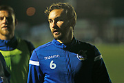 Ed Upson warms up before the The FA Cup match between Bromley and Bristol Rovers at the Westminster Waste Stadium, Bromley, United Kingdom on 19 November 2019.