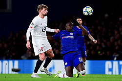 Kurt Zouma of Chelsea is fouled by Xeka of Lille - Mandatory by-line: Ryan Hiscott/JMP - 10/12/2019 - FOOTBALL - Stamford Bridge - London, England - Chelsea v Lille - UEFA Champions League group stage