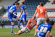 Joe Bunney shoots during the Sky Bet League 1 match between Rochdale and Blackpool at Spotland, Rochdale, England on 16 April 2016. Photo by Daniel Youngs.